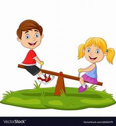 Playing Kids Cartoon Cartoon Kids Playing On Seesaw In Park Royalty Free Vector