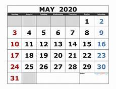 Printable May 2020 Calendar With Holidays May 2020 Free Printable Calendar