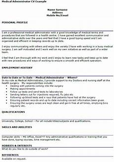 Admin Cv Examples Uk Medical Administrator Cv Example Icover Org Uk
