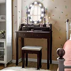 giantex vanity table set with 10 led lights