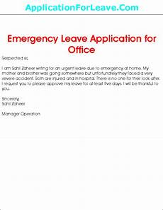 Emergency Vacation Request Letter Leave Application For Emergency Leave From Office