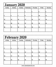 Two Month Calendar 2020 Print January February 2020 Calendar Template 2 Month