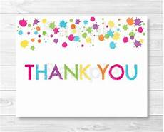 Free Thank You Templates Rainbow Art Party Thank You Card Template Art Birthday