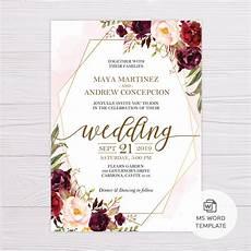 Wedding Invitations Microsoft Word Marsala Flowers With Gold Frame Wedding Invitation