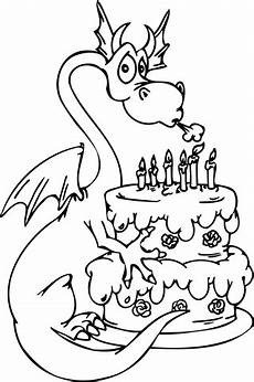 with happy birthday cake coloring page free