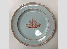 """SPODE """"TRADE WINDS"""" RED DINNER PLATE 10 1/4"""" GRAY FINE"""