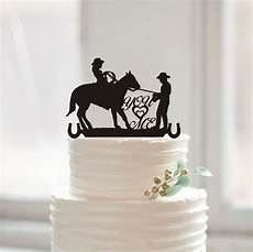 country western wedding silhouette cake topper you me