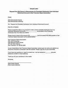 Request For Contribution Letter Sample Ira Charitable Rollover Sample Letter Instructions To Ira