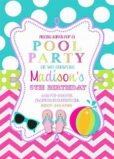 Pool Party Invitations Wording Pool Party Birthday Party Invitations Printable Or Digital