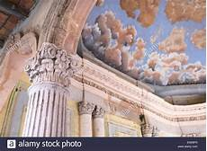 ceiling fresco of blue sky and clouds at ex hacienda jaral