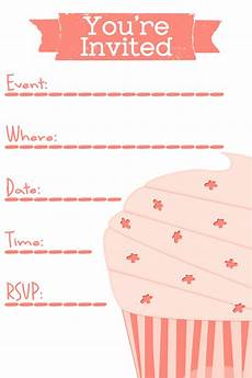 Birthday Party Invitation Templates Free Printable Free Party Invitation Template Cupcake Clipart