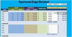 Department Budget Template Departmental Budget Worksheet Excel
