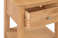 hereford oak l side table with drawer hallowood