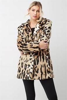 animal print faux fur coat in brown originals uk