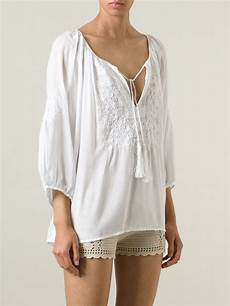 white peasant blouse odabash talitha peasant blouse in white lyst