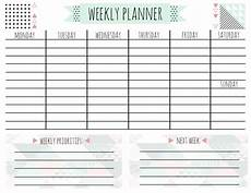 Weekly Day Planner Printable Free Printable Weekly Calendar For Every Style A
