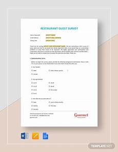 Restaurant Surveys Examples Restaurant Guest Survey Template