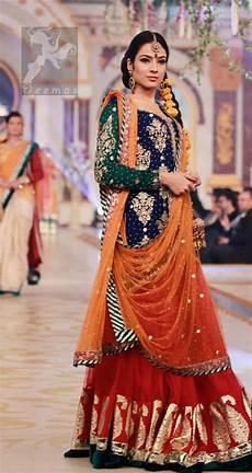 mehndi dresses 2017 royal blue orange lehenga