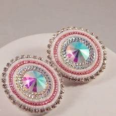 pink white beaded earrings pow wow beadwork resin