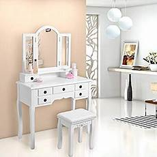 woltu mb6030ws white dressing table set with stool 3