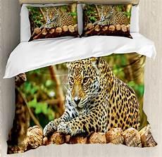 zoo duvet cover set with pillow shams jaguar on wood