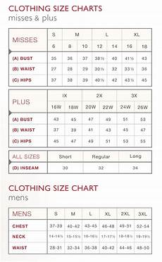 Clothing Size Chart Clothing Sizing Chart Amp Country Door