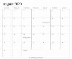 August 2020 Calendar With Holidays August 2020 Editable Calendar With Holidays