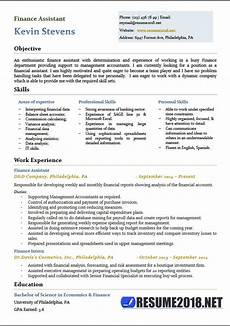 Cv For Finance Assistant Finance Assistant Resume Templates 2018 6 Samples In Word
