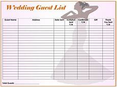 Free Wedding Guest List Template Free Wedding Guest List Templates For Word And Excel