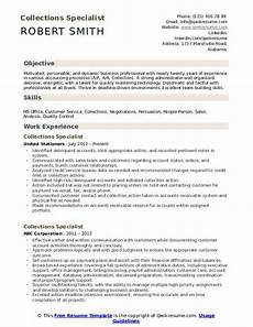 Collection Resume Examples Collections Specialist Resume Samples Qwikresume