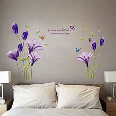 purple flowers removable vinyl decal wall stickers