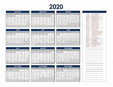 Calendar Excel Template 2020 2020 Excel Yearly Calendar Free Printable Templates