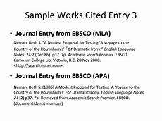 Work Cited Entry Works Cited Guidelines