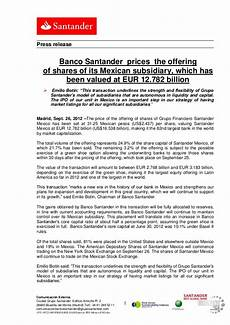 banco santander stock banco santander prices the offering of shares of its