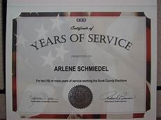 Years Of Service Certificate August 2011 Scott County Iowa Auditor S Blog
