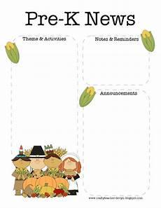 Thanksgiving Newsletter Template Free November Thanksgiving Pre K Newsletter Template The