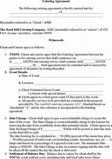 Catering Agreement Template 6 Catering Contract Templates Word Pdf Word Excel Formats