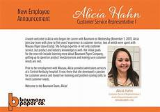 New Hire Announcement Baumann Paper Company New Hire Announcement Welcome