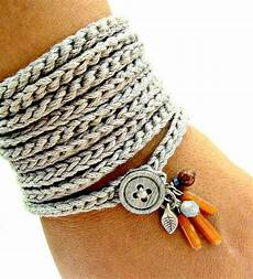crochet bracelet with charms wrap bracelet silver grey