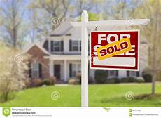 Listing A Home For Sale Sold Home For Sale Sign In Front Of New House Stock Image