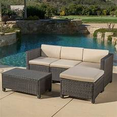 Brown Wicker Sofa 3d Image by Outdoor 5 Brown Wicker Sectional Sofa Set With