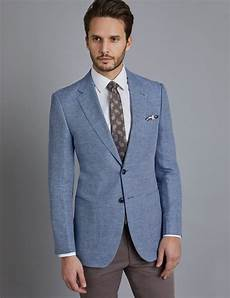 Light Blue Check Jacket Men S Light Blue Check Linen Amp Cotton Blend Slim Fit
