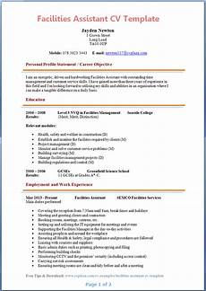 assistant cv sample facilities assistant cv example preview page 1
