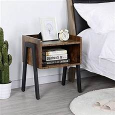 yaheetech industrial nightstand with storage drawer set