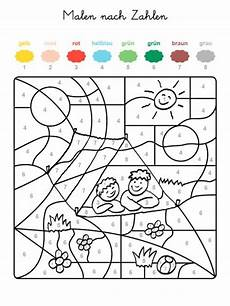 kostenlose malvorlage malen nach zahlen zwei kinder