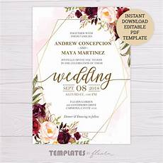 Template Wedding Invitation Marsala Flowers With Gold Frame Wedding Invitation