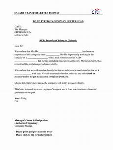 Transfer Letter Template Employees Salary Transfer Letter To Bank Templates At