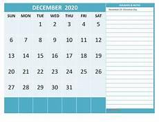 December 2020 Calendar With Holidays Printable December 2020 Calendar With Holidays Word Free