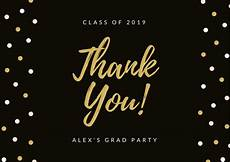 thank you card template and black black gold polka dots border graduation thank you