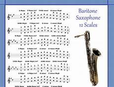 Baritone Sax Chart Baritone Saxophone 12 Scales Poster For Sax Chart